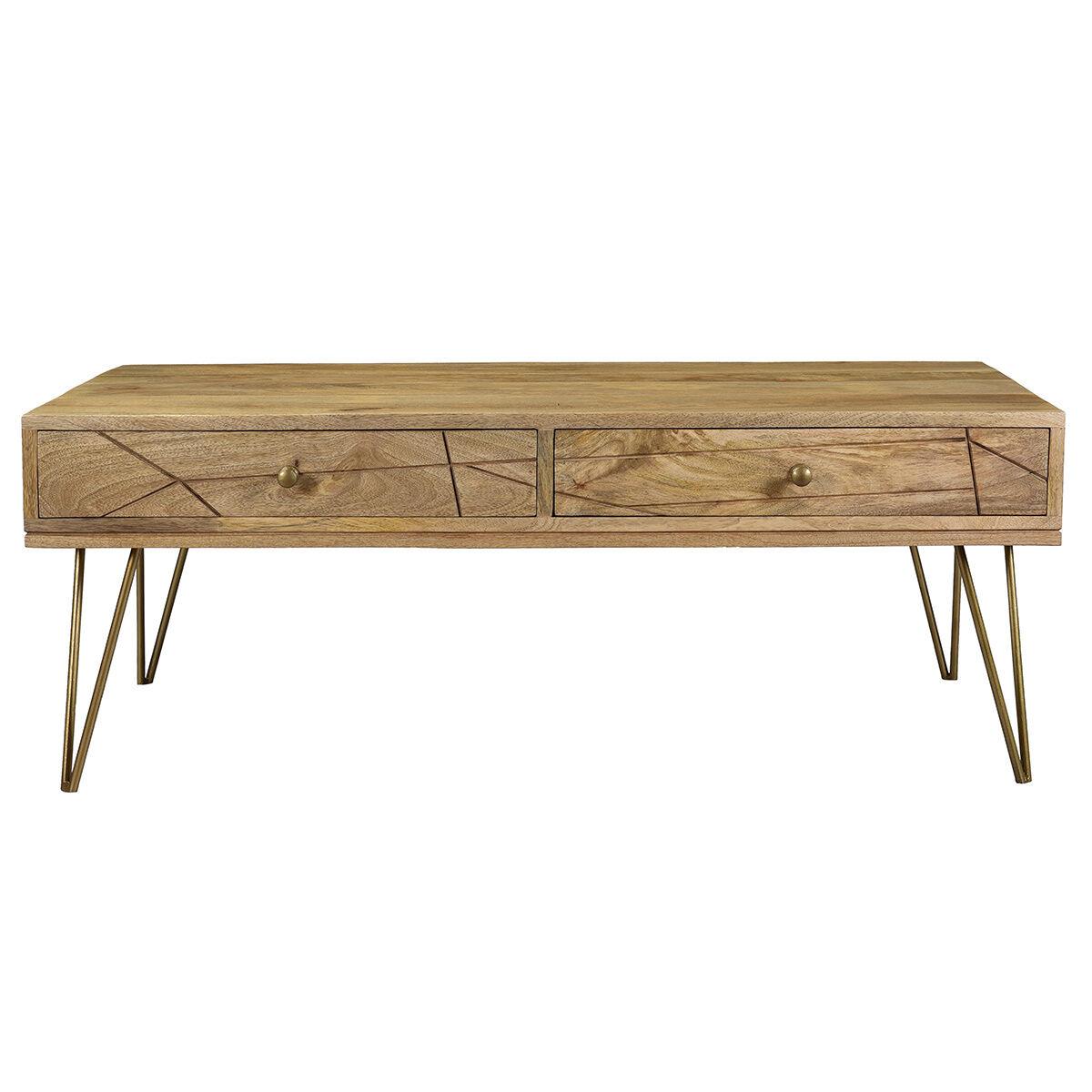 Miliboo Table basse gravée en manguier massif et métal doré LINIUM