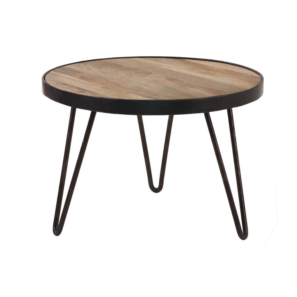 Miliboo Table basse ronde industrielle en manguier massif D50 x H35 cm ATELIER