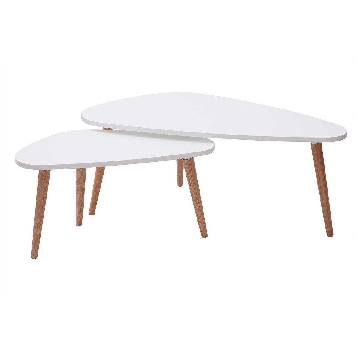 Miliboo Tables gigognes scandinaves blanches et bois clair (lot de 2) ARTIK