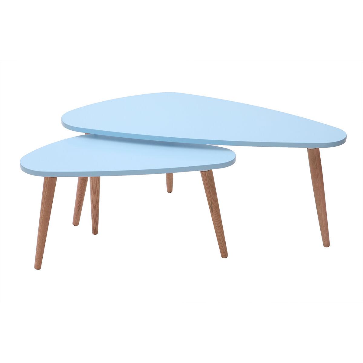 Miliboo Tables gigognes scandinaves bleu clair et bois clair (lot de 2) ARTIK