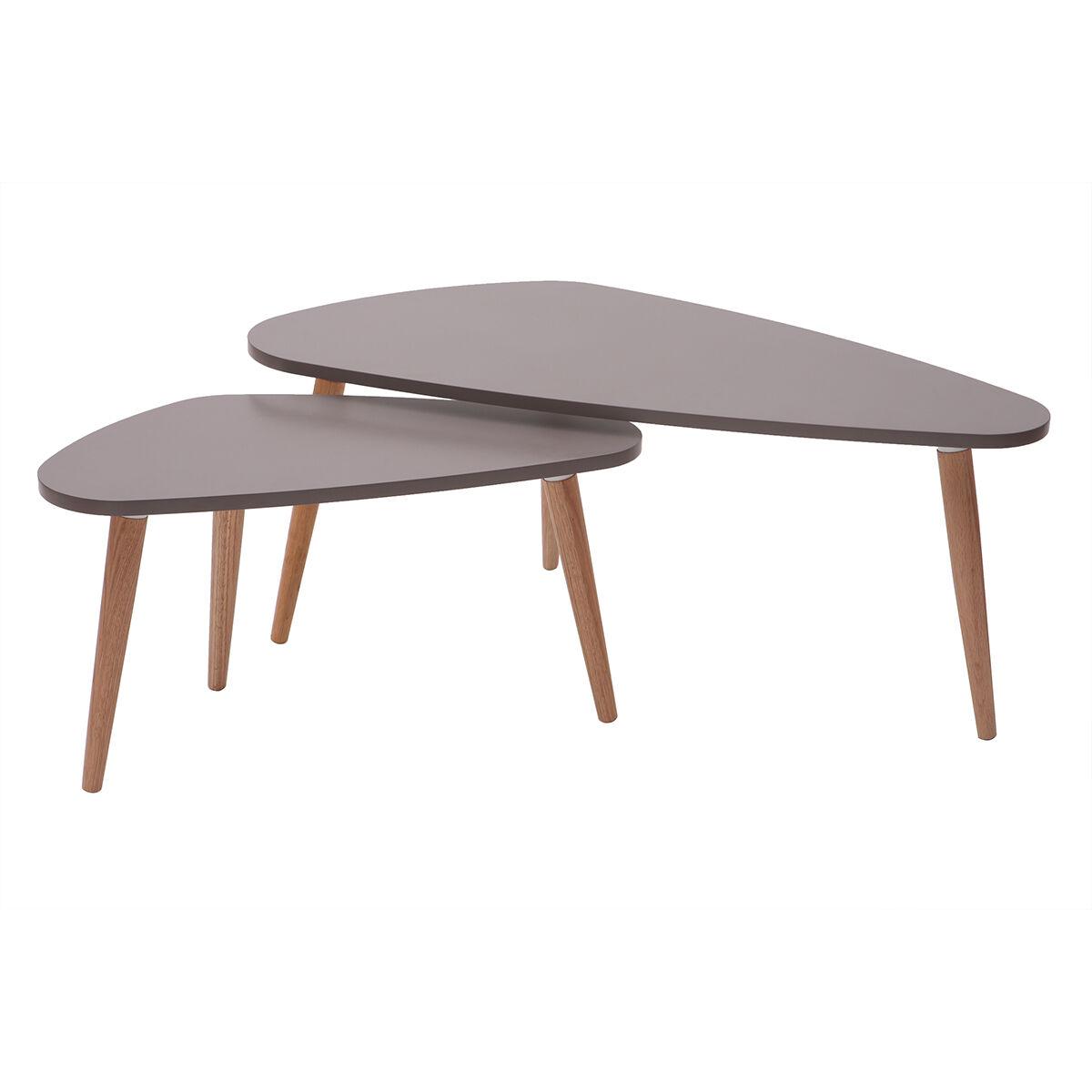 Miliboo Tables gigognes scandinaves gris clair et bois naturel (lot de 2) ARTIK