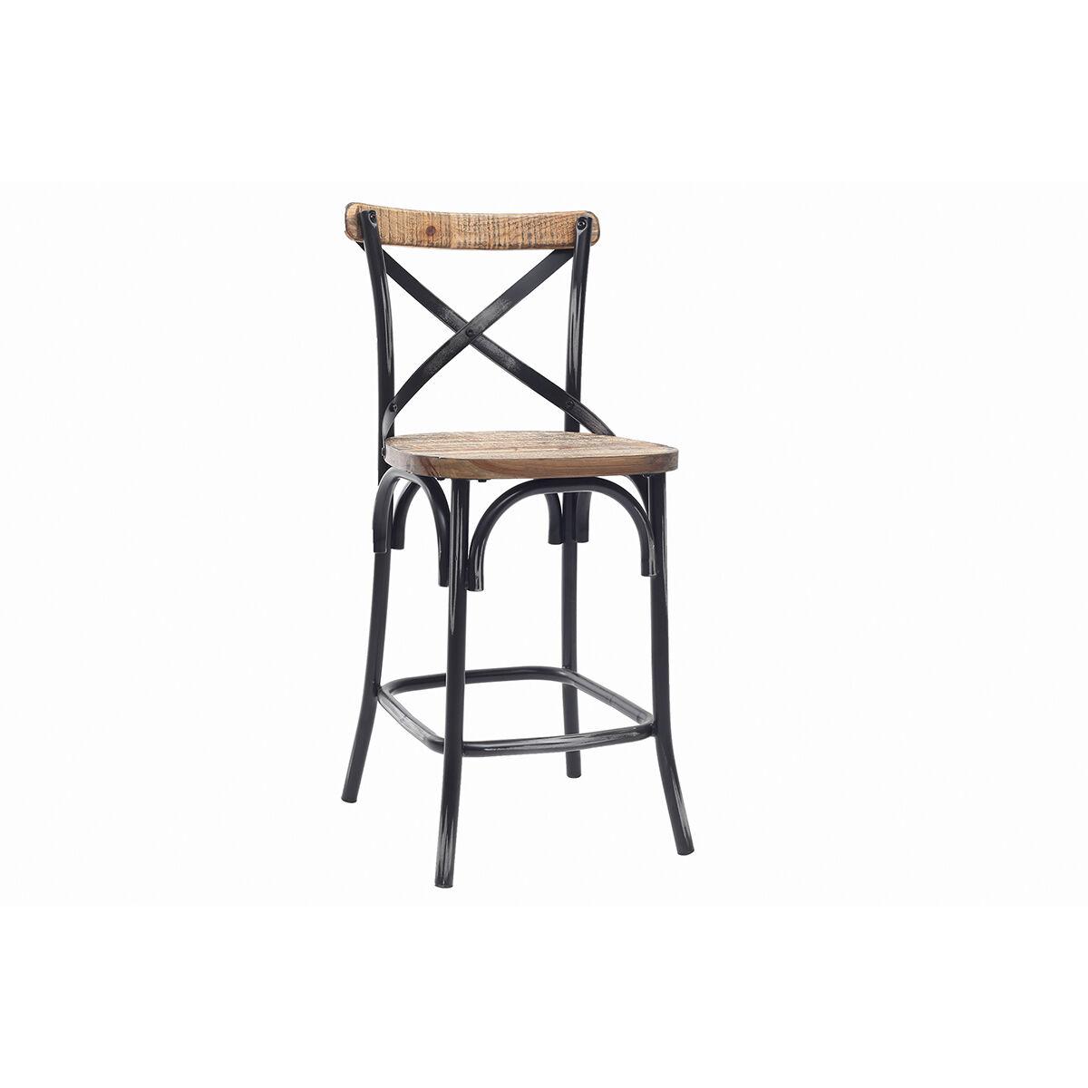Miliboo Tabouret de bar industriel en bois et métal vieilli noir 65 cm JAKE