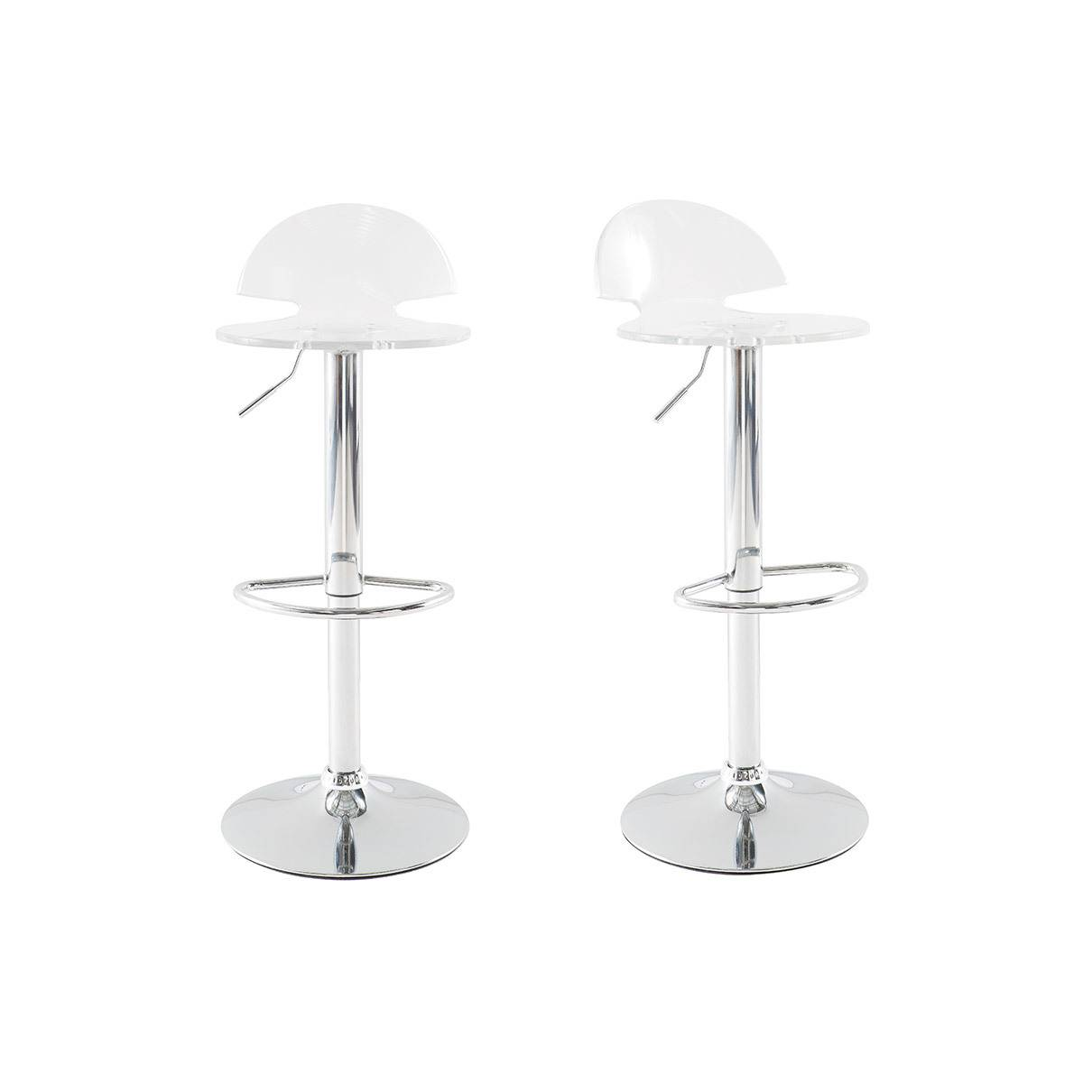 Miliboo Tabourets de bar design plexiglas transparent (lot de 2) ORION