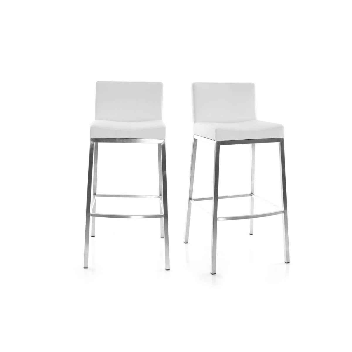 Miliboo Tabourets design blanc H66 cm (lot de 2) EPSILON
