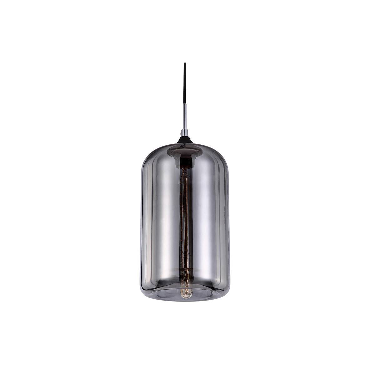 Miliboo Suspension design verre soufflé transparent noir MILAN
