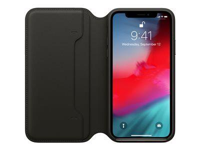 Apple folio - protection à rabat pour téléphone portable - cuir - noir - pour...