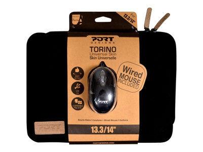 """Port torino - housse d'ordinateur portable - 14"""" - noir - avec souris filaire..."""