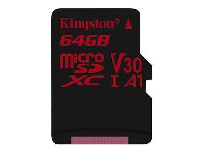 Kingston canvas react - carte mémoire flash - 64 go - a1 / video class v30 / ...