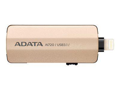 Adata i-memory ai720 - clé usb - 64 go - usb 3.1 / lightning - or - pour appl...