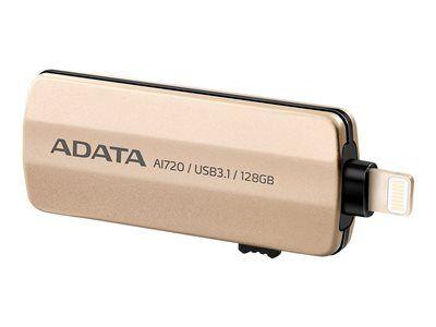 Adata i-memory ai720 - clé usb - 128 go - usb 3.1 / lightning - or - pour app...