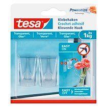 Crochets adhésifs tesa pour verre et surface transparente - lot de 2