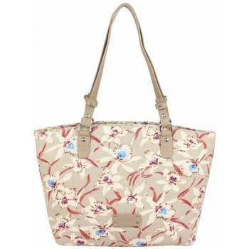 Fuchsia Sac porté épaule Sac épaule cabas toile beige motif fleur Hawaï