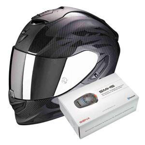 Scorpion Exo 1400 Air Carbon Obscura Matt Black + Kit Bluetooth Sena SMH5 Solo - Publicité