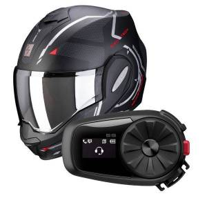 Scorpion Exo Tech Square Matt Black Red + Kit Bluetooth Sena 5S - Publicité