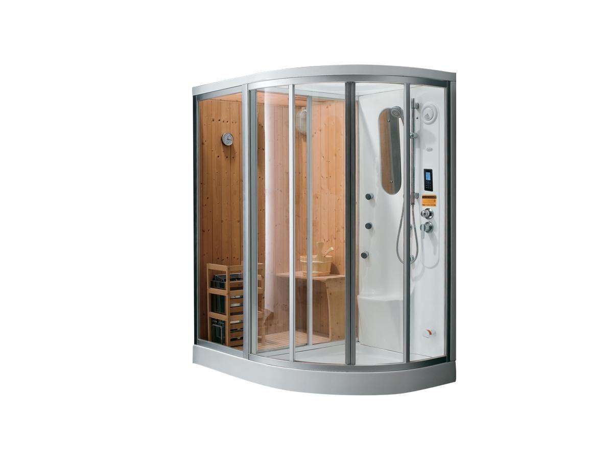 Vente-unique.com Cabine de douche intégrale d'angle HAUMEA fonction Hammam et Sauna- l157xP110xH215cm - Angle gauche