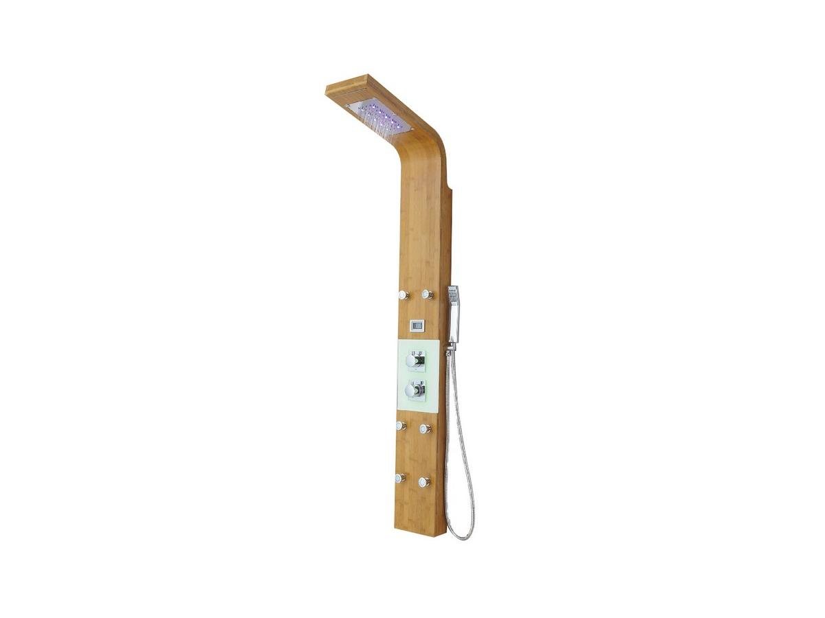 Vente-unique.com Colonne de douche hydromassante thermostatique EMIRA avec 6 jets de massage, pluie tropicale, éclairage LED et panneau en bambou