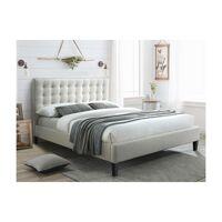 Vente-unique Lit CHIARA tête de lit capitonnée - Beige - 160*200 cm <br /><b>269.99 EUR</b> Vente-Unique