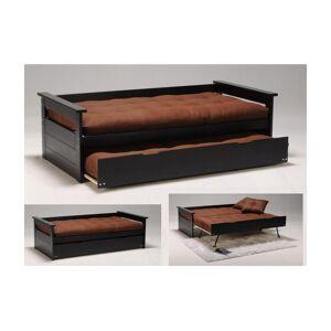 Vente-unique Lit gigogne banquette ALFONSO - 90x190cm - MDF et Sapin - Noir - Publicité