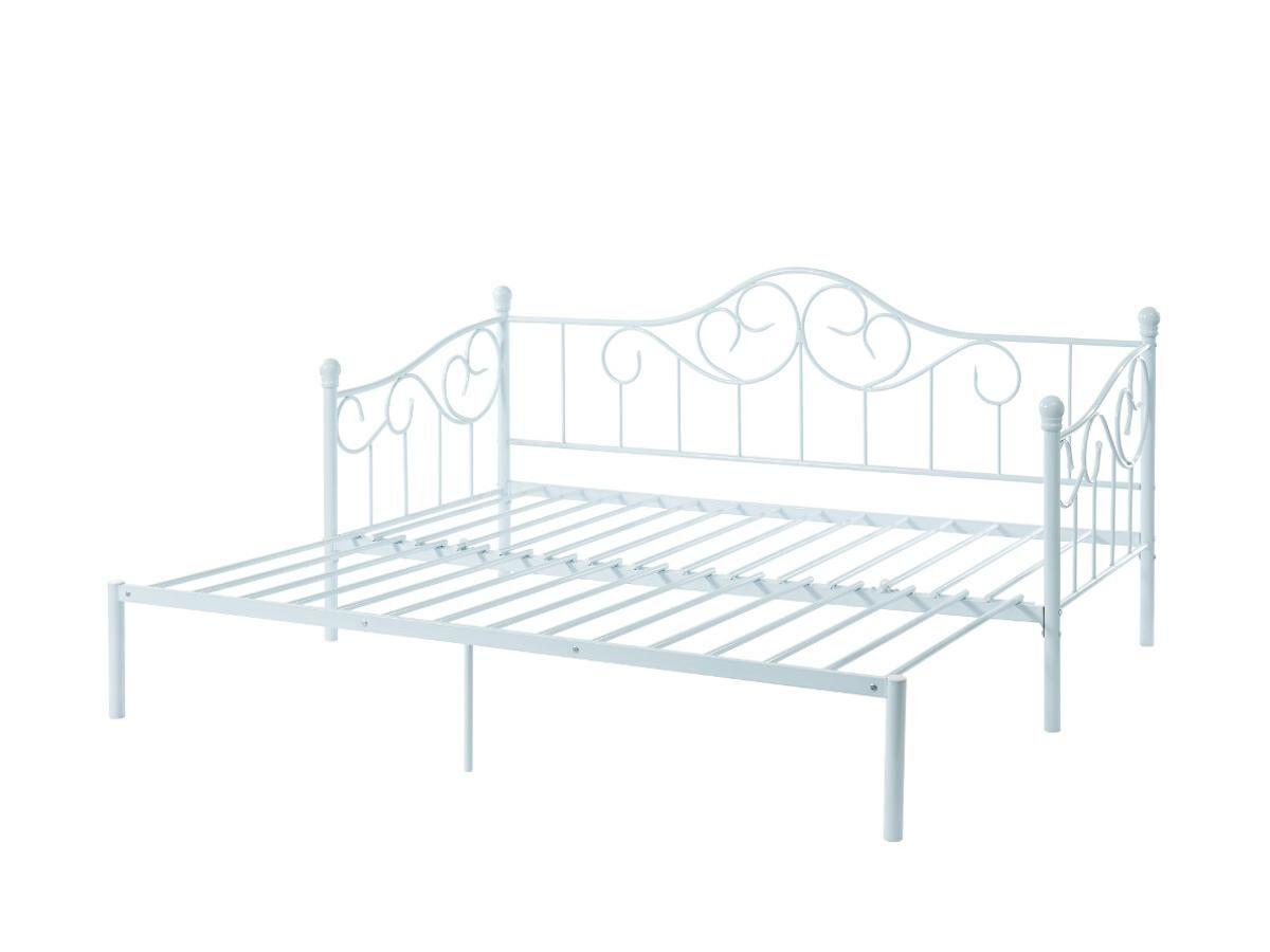 Vente-unique Lit gigogne banquette extensible SEBILLE - 2 x 90 x 200 ou 180 x 200 cm - Métal - Blanc