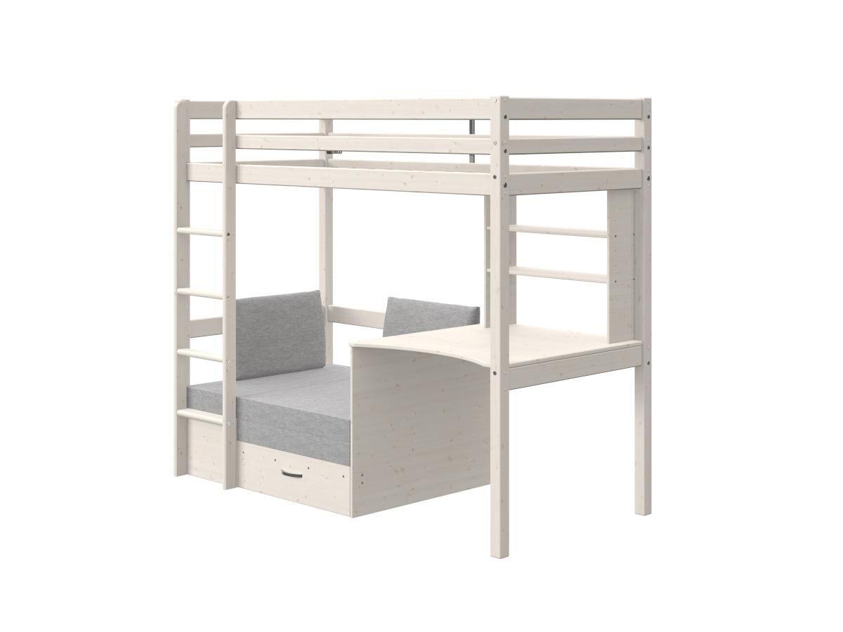 Vente-unique Lit mezzanine GOLIATH II avec bureau, sofa convertible et rangements - 90 x 200 cm - Pin massif - Blanchi