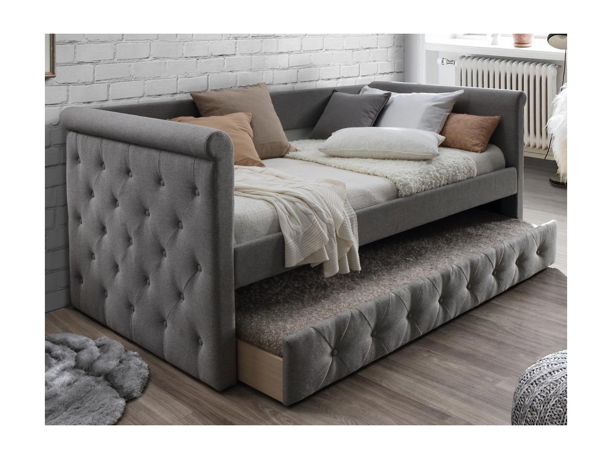 Vente-unique Lit banquette gigogne capitonné LOUISE - 2x90x190cm - tissu gris