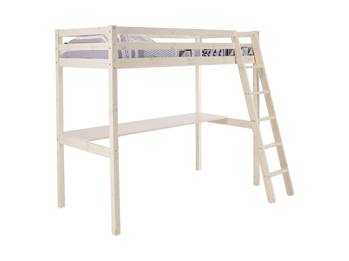Vente-unique Lit mezzanine GEDEON - 90 x 190 cm - Avec bureau - Pin massif - Blanchi
