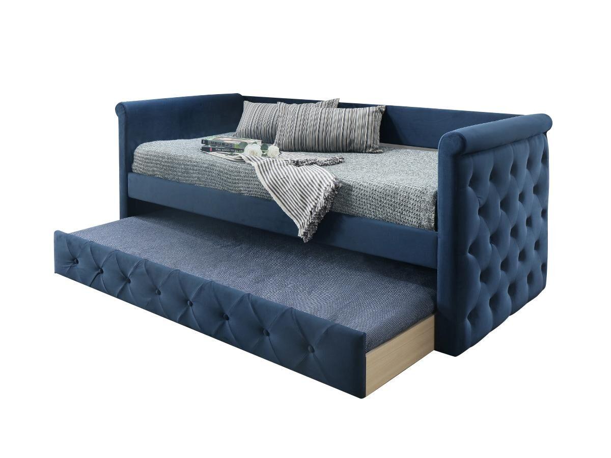Vente-unique Lit banquette gigogne capitonné LOUISE - 2x90x190cm - tissu bleu