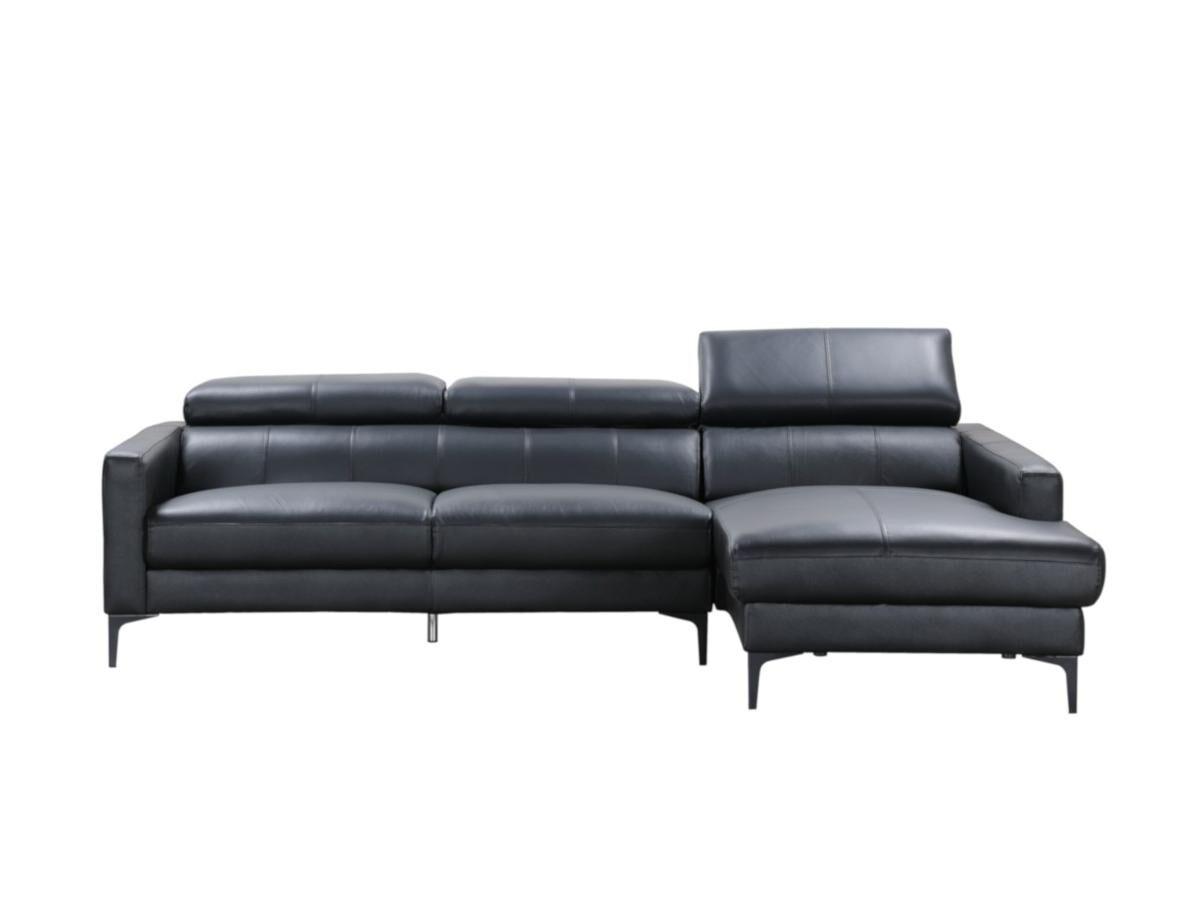 Vente-unique Canapé d'angle en cuir de buffle FLORENCE - Noir - Angle droit
