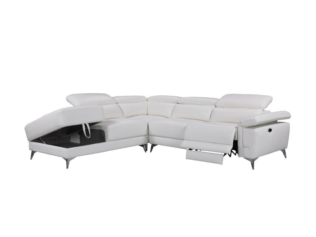 Vente-unique.com Canapé d'angle relax électrique en cuir PASCALINE - Ivoire - Angle gauche