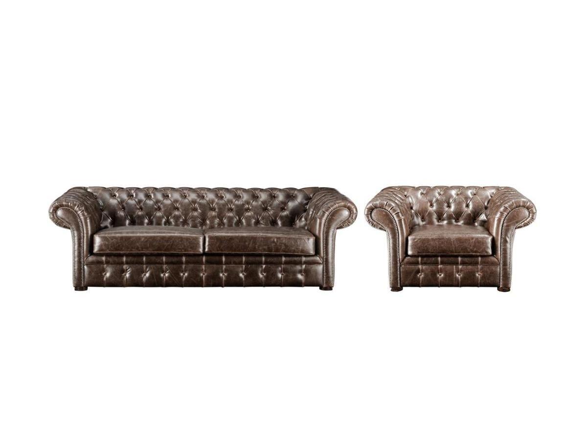 Vente-unique Canapé et fauteuil chesterfield CLOTAIRE 100% cuir vieilli
