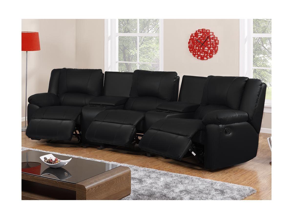 Vente-unique Canapé 3 places relax en cuir AROMA - Noir