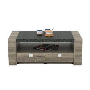 Vente-unique Table basse METEORITE - 2 tiroirs - MDF plateau effet granite - Publicité