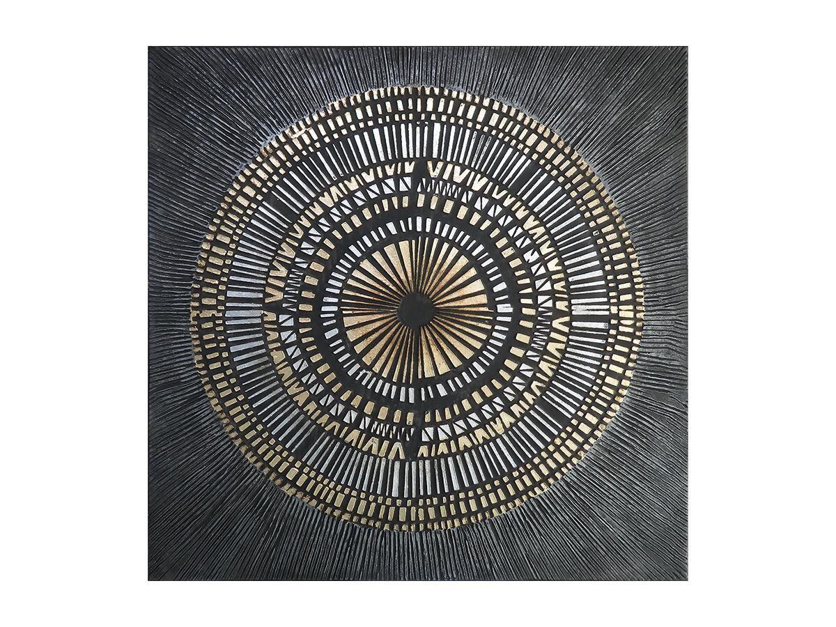 Vente-unique Peinture à l'huile RIAD - Structure en bois de pin - 100x100 cm - Noir et doré