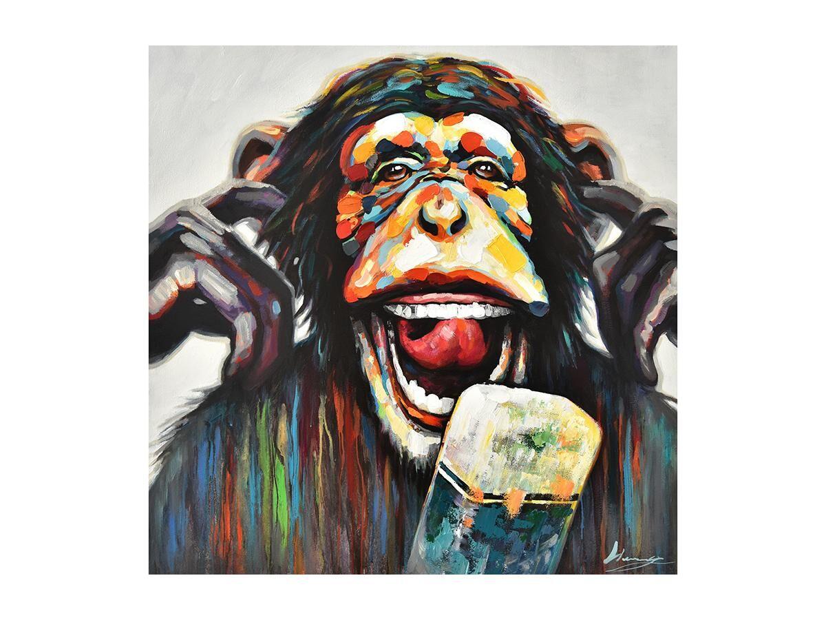 Vente-unique Peinture à l'huile peinte main MONKEY - 100 x 100 cm - Multicolore