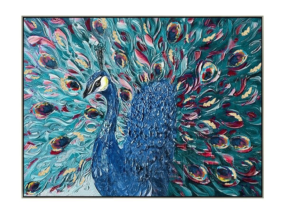 Vente-unique Peinture à l'huile peinte main motif paon PARADE - 80 x 100 cm - Bleu