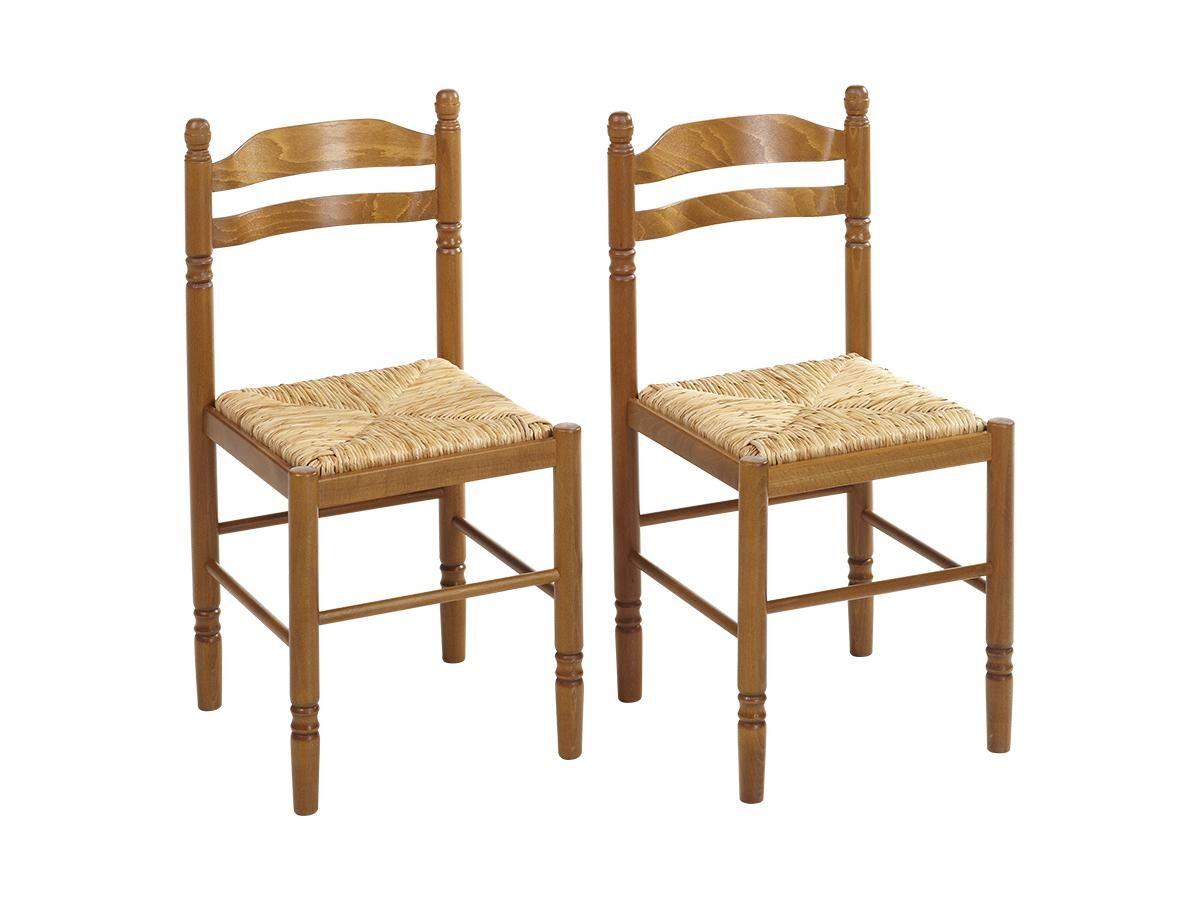 Vente-unique Lot de 2 chaises JEANNE - Hêtre massif & assise paille de riz