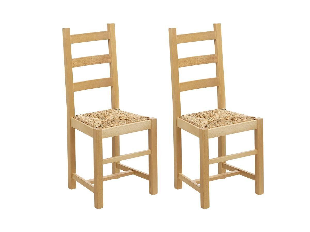 Vente-unique Lot de 2 chaises FARMER - Hêtre massif naturel & assise paille de riz