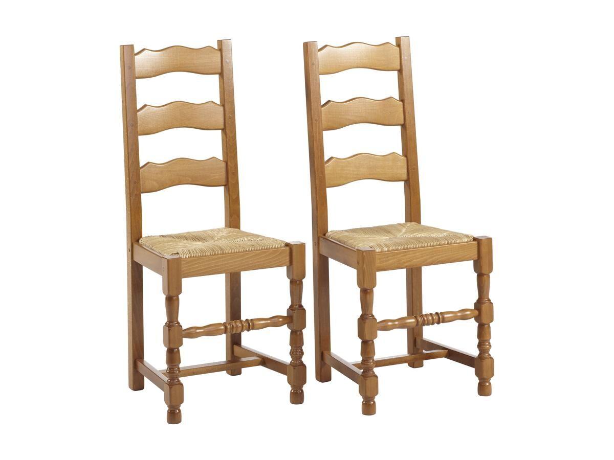 Vente-unique Lot de 2 chaises SEGUIN - Hêtre massif & assise en paille de seigle