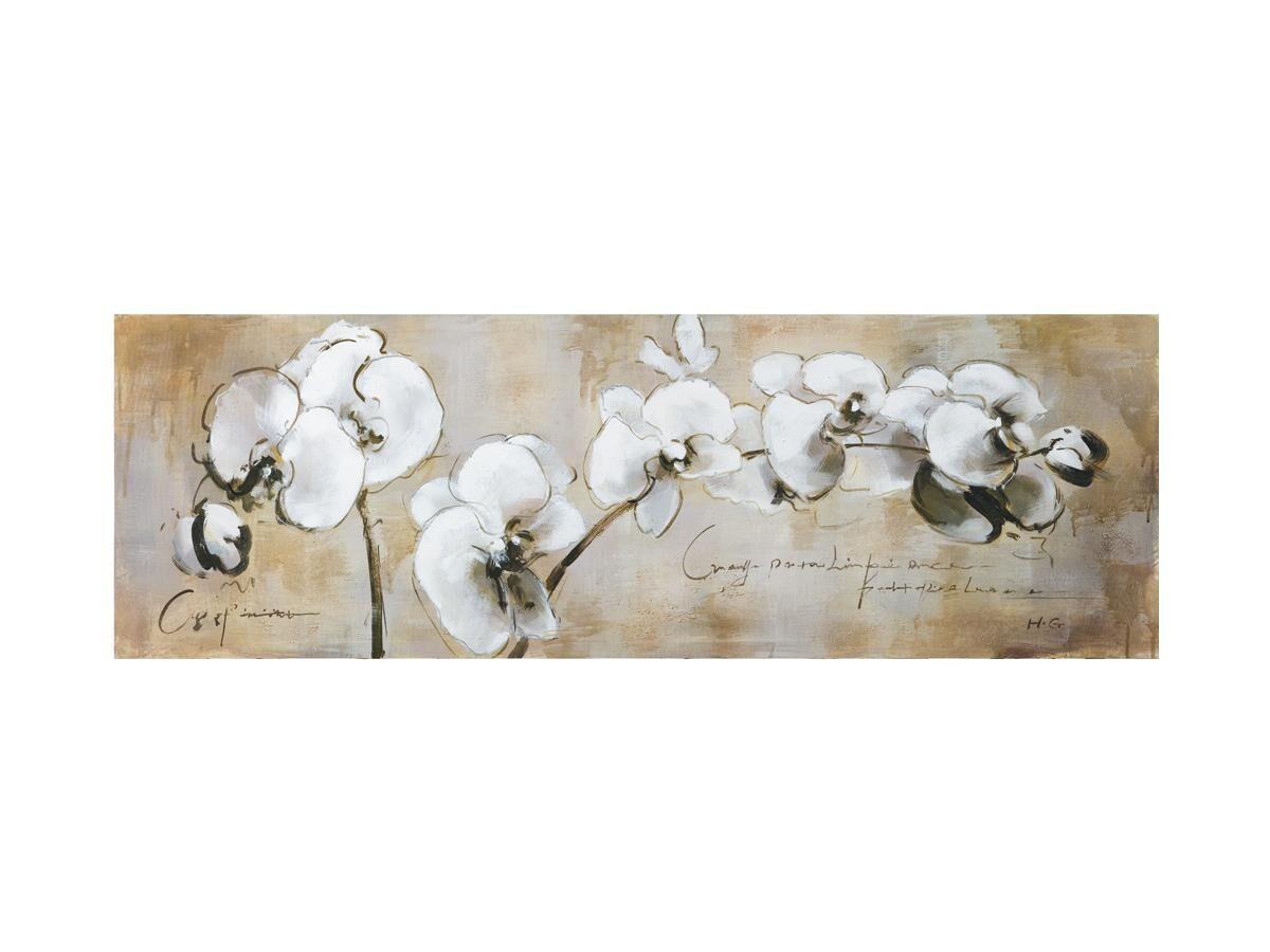 Vente-unique Peinture à l'huile fleurs ORCHID - 50*150 cm
