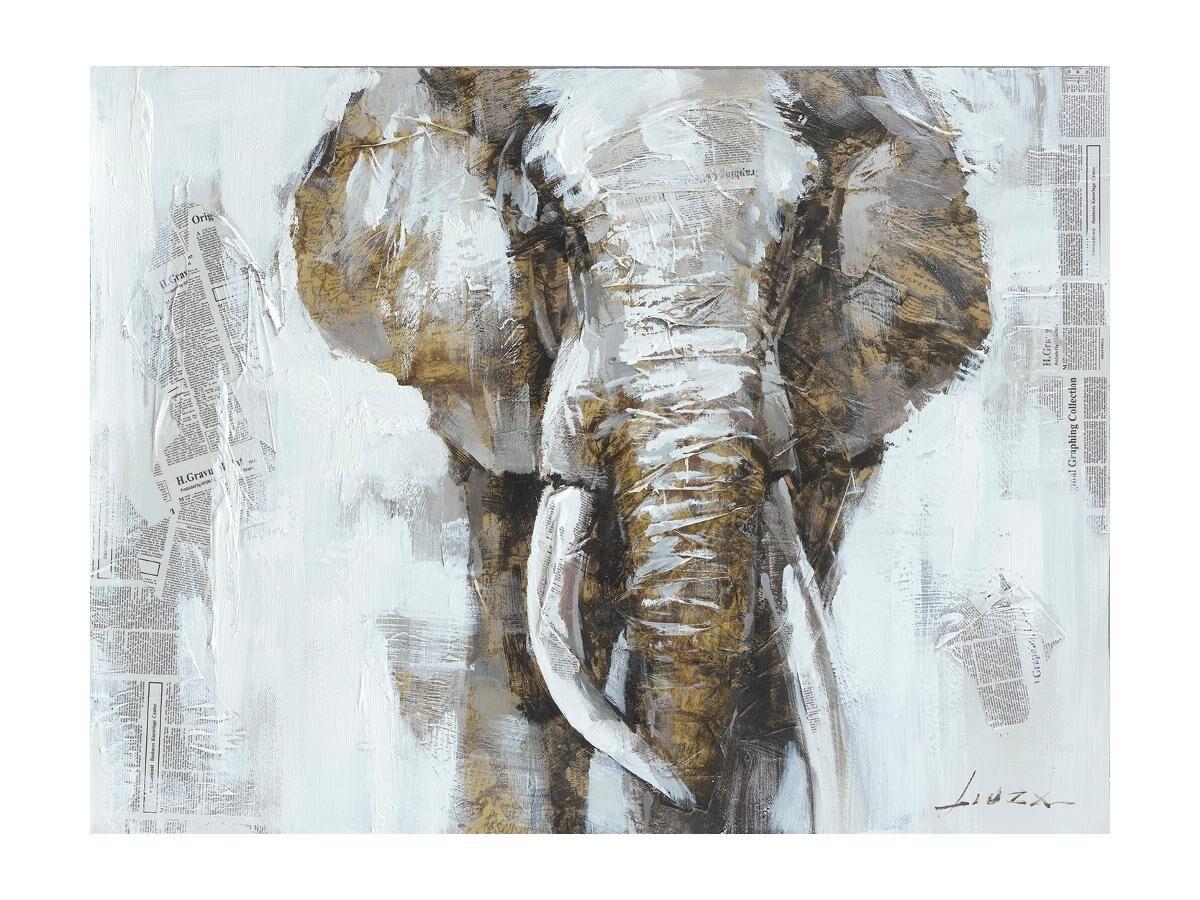 Vente-unique Peinture à l'huile éléphant EUGENIE - 90*120 cm