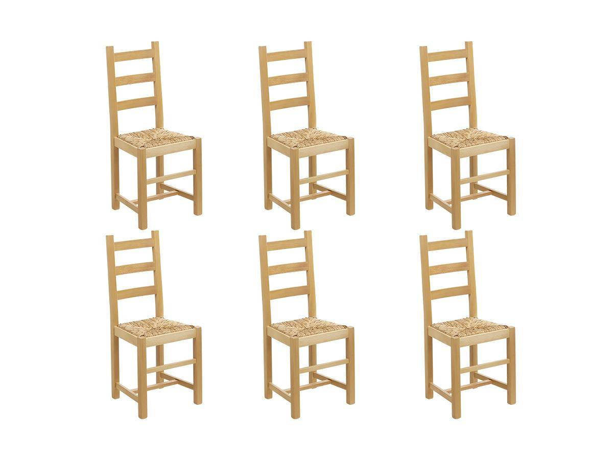 Vente-unique Lot de 6 chaises FARMER - Hêtre massif naturel & assise paille de riz