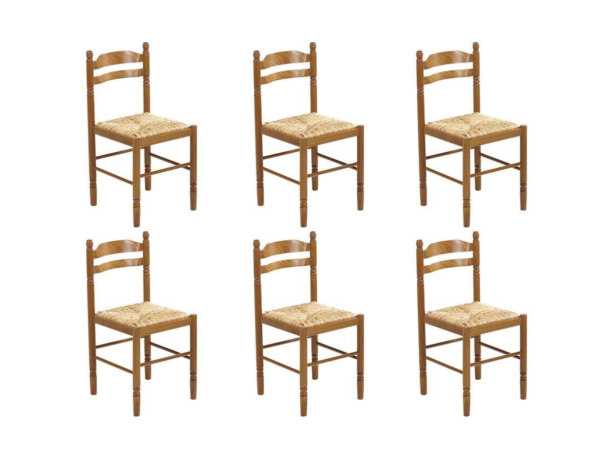 Vente-unique Lot de 6 chaises JEANNE - Hêtre massif & assise paille de riz