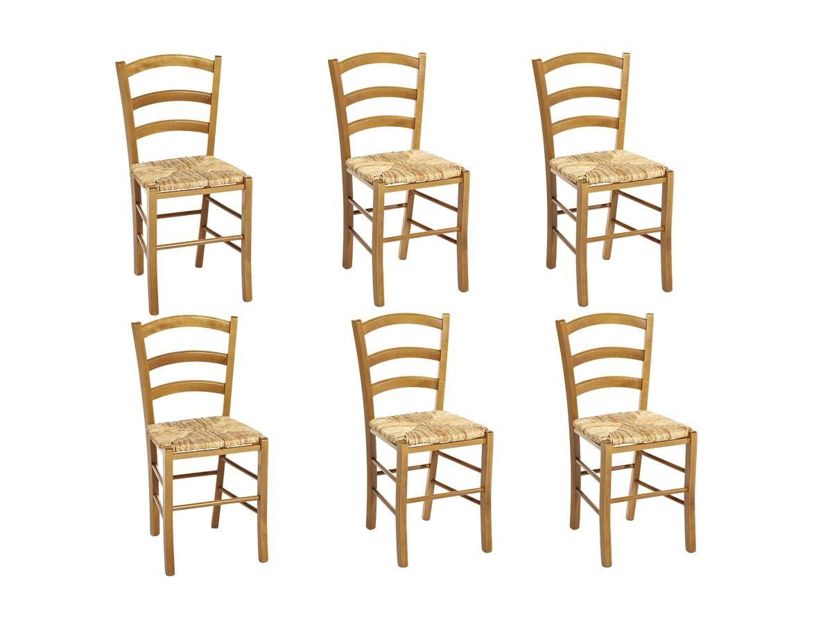 Vente-unique Lot de 6 chaises PAYSANNE - Hêtre massif teinté chêne, paille de riz