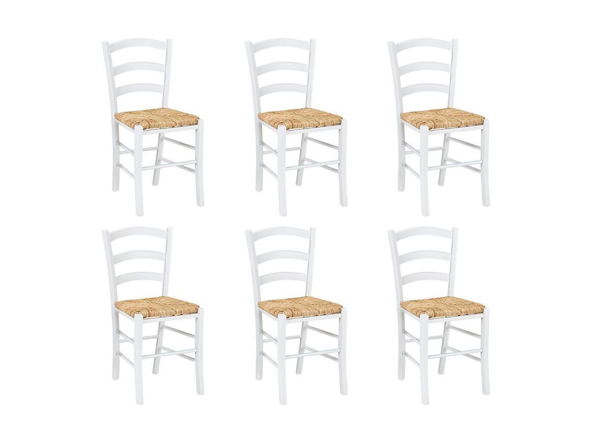 Vente-unique Lot de 6 chaises PAYSANNE - Hêtre massif teinté blanc, paille de riz