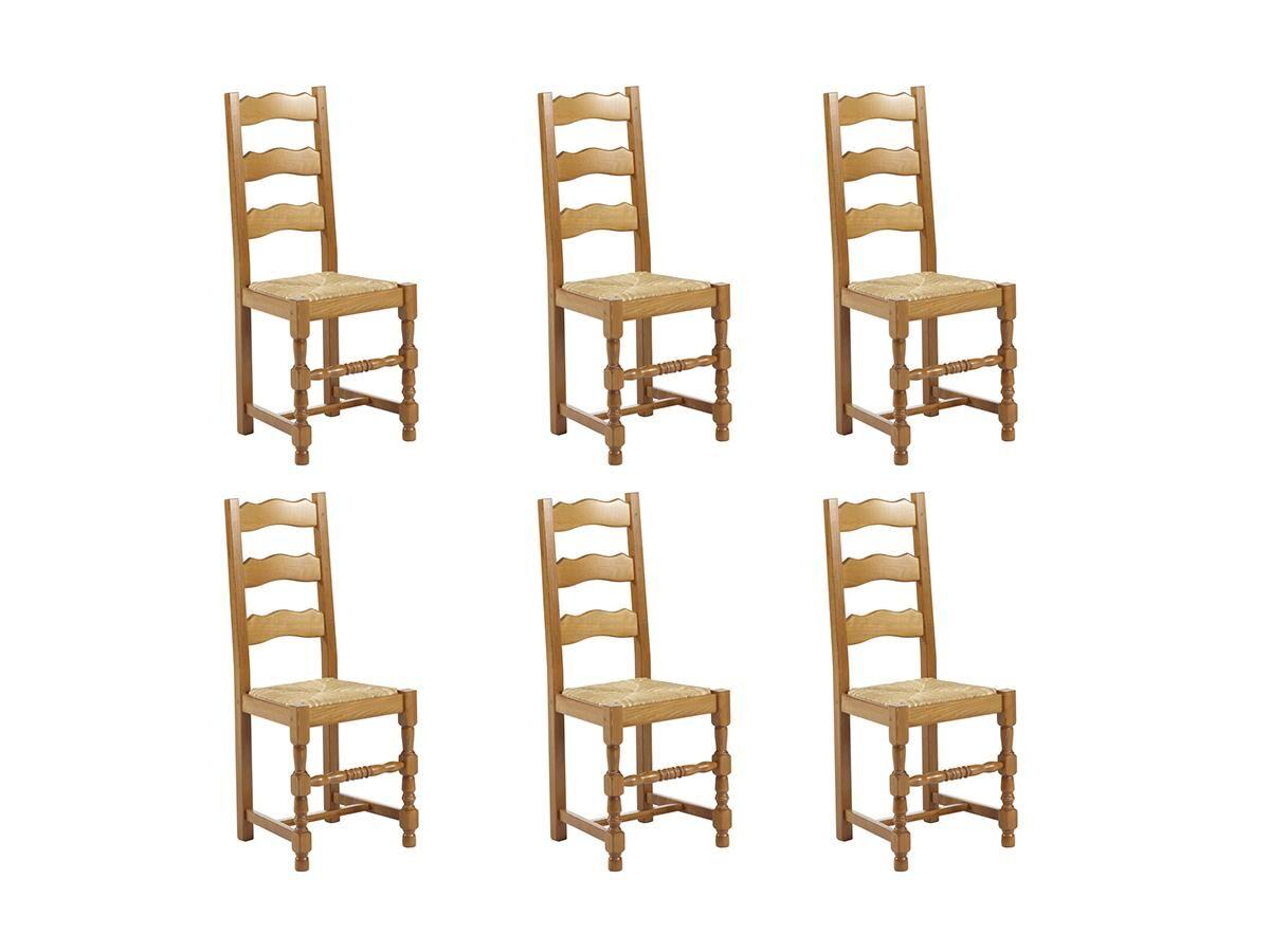 Vente-unique Lot de 6 chaises SEGUIN - Hêtre massif & assise en paille de seigle