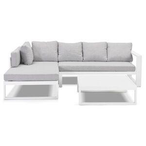 Salon de jardin en angle 'VERONA L SHAPE' en tissu gris clair et aluminium blanc - Publicité