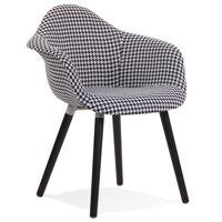 Chaise design avec accoudoirs 'LARA' en tissu pied de poule noir et blanc <br /><b>169.00 EUR</b> Alterego Design