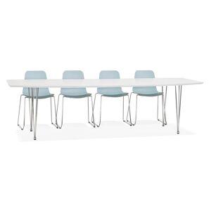 Table à dîner design extensible 'HUSKI' blanche avec pieds chromés - 170(270)x100 cm - Publicité
