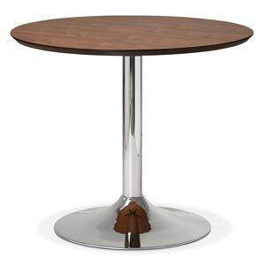 Petite table de bureau / à diner ronde 'KITCHEN' en bois finition Noyer - Ø 90 cm - Publicité