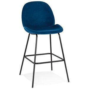 Tabouretde bar design 'LAMY' en velours bleu - Publicité